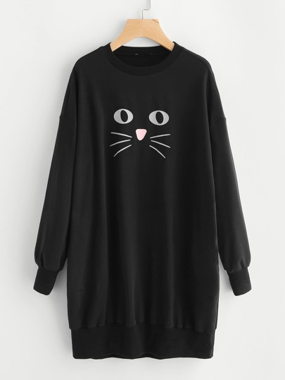 Cat Print Drop Shoulder Sweatshirt Dress