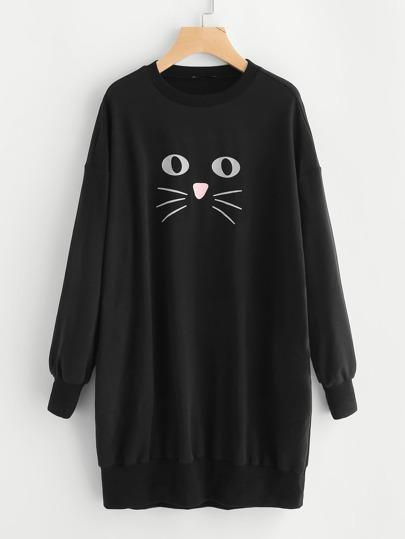 Sweat-robe imprimé du chat avec la chute de l\'épaule
