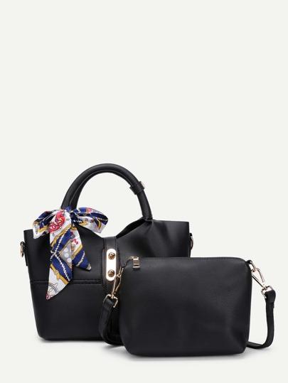 Scarf Embellished Tote Bag With Shoulder Bag