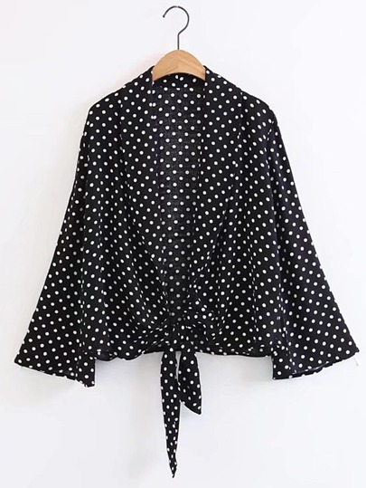 Bell Sleeve Polka Dot Knot Front Top