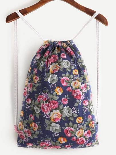 Calico Print Drawstring Backpack
