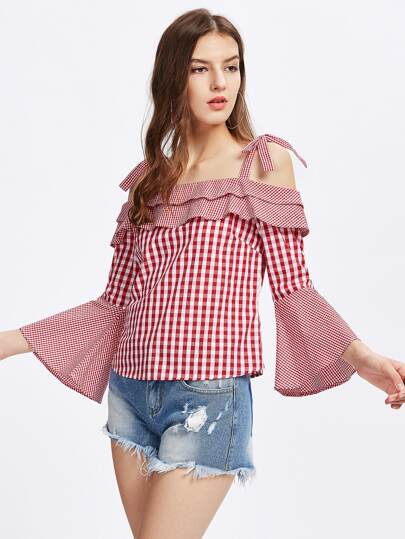 Self Tie Trumpet Sleeve Mixed Gingham Top