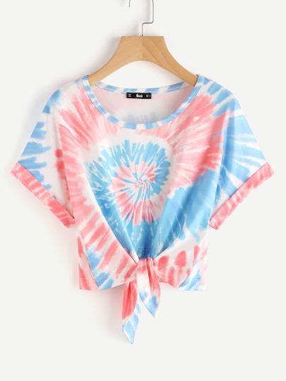 Camiseta de dolmán espiral con efecto teñido anudado con nudo