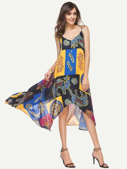 Abstract Print Hanky Hem Cami Dress