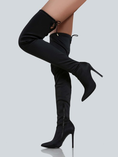 Point Toe Thigh High Boots BLACK