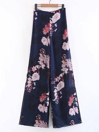 Pantalones con estampado floral y abertura en la parte lateral