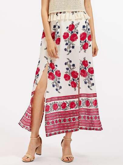 Falda de gasa floral con abertura