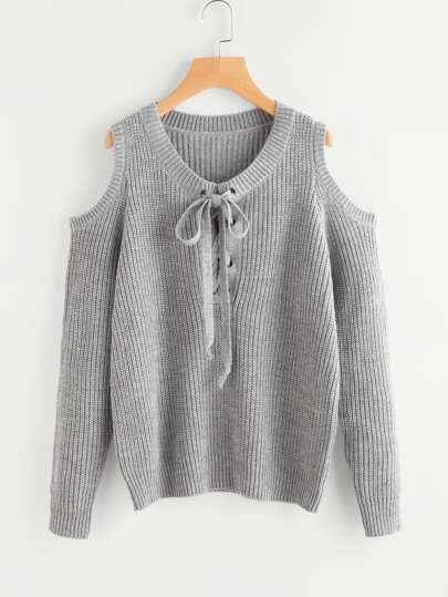 Open Shoulder Grommet Lace Up Jumper