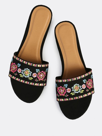 Faux Suede Embroidered Slips Ons BLACK