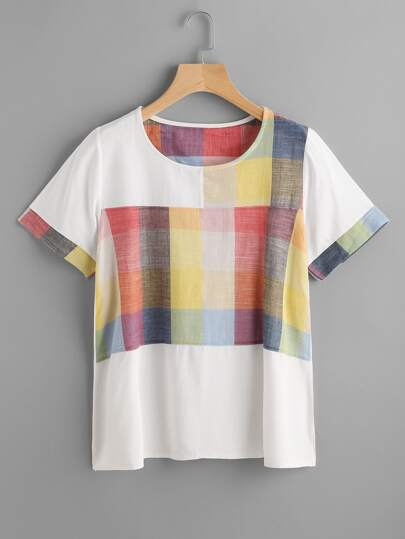 T-shirt con pannello a plaid