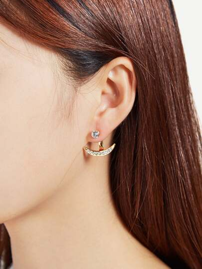 Rhinestone Moon Shaped Stud Earrings