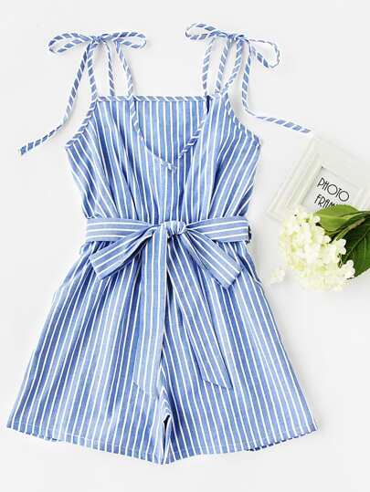Vertical Striped Tie-Strap Romper With Belt