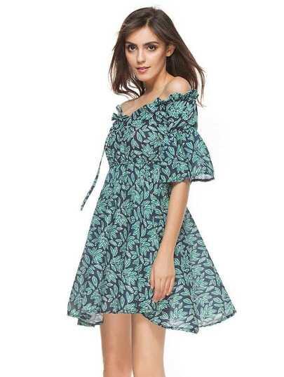 Bardot Frill Trim Allover Leaf Print Swing Dress