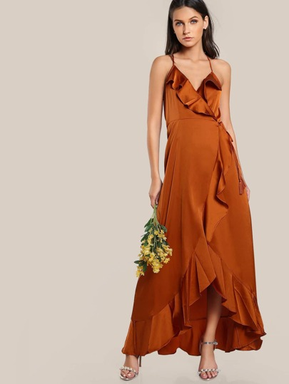 Self Tie Wrap Maxi Dress RUST