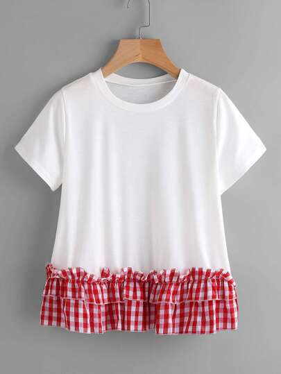 Contrast Gingham Tiered Frill Hem Tee