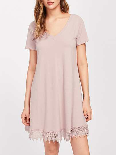 Lace Hem Tie Up Scoop Back Textured Dress