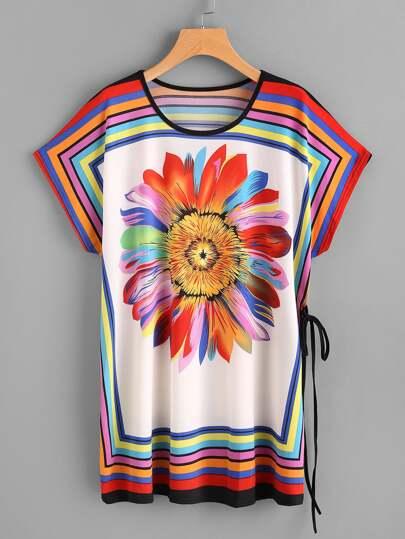 Vestido camisero con estampado de arco iris y girasol con manga acampanada con detalle de cordón