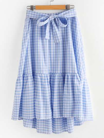 Bow Tie Front Tiered Gingham Skirt