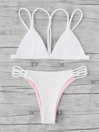 Ladder Cutout Ribbed Bikini Set