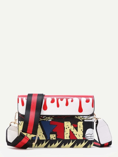 Graffiti Print Flap Shoulder Bag With Striped Strap