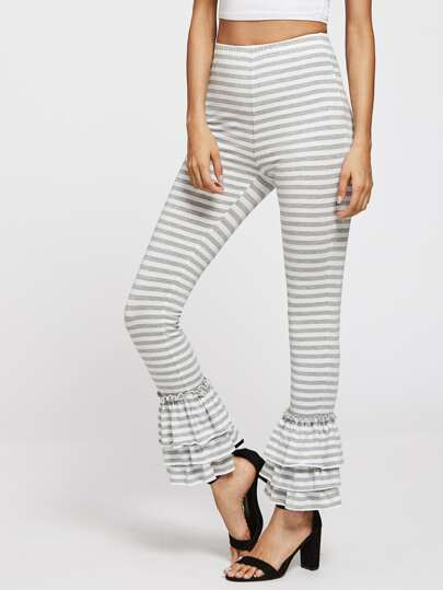 Layered Ruffle Hem Striped Pants