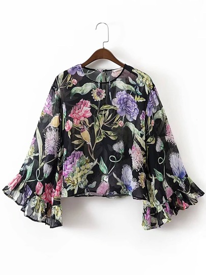 Bell Sleeve Keyhole Back Floral Top