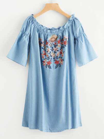 Bardot Flower Embroidery Denim Dress