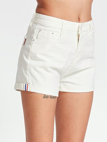 White Rolled Hem Straight Denim Shorts