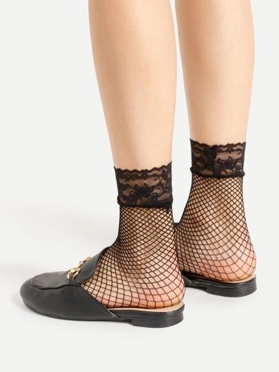 Socquettes de cheville découpées à maille en dentelle