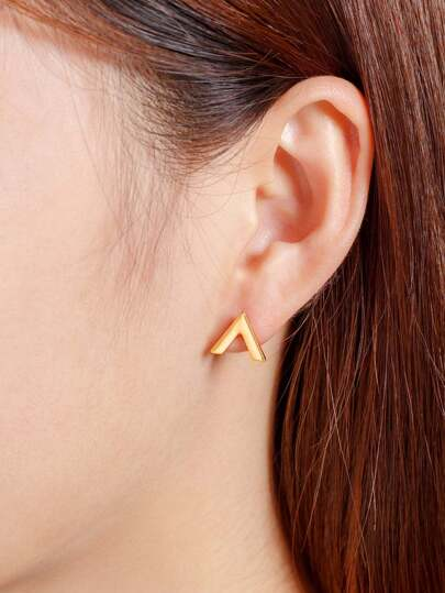 Letter V Design Stud Earrings