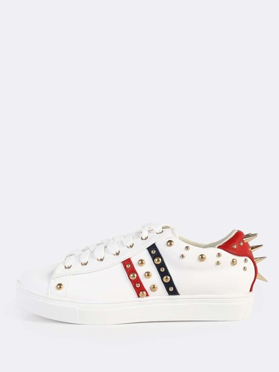 Colorblock Leather Spike Sneakers WHITE