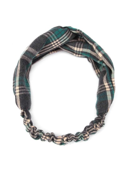Plaid Print Twist Headband
