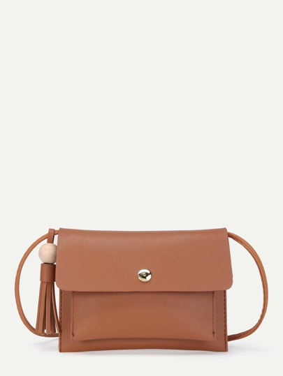 Tassel Detail PU Flap Cross Body Bag