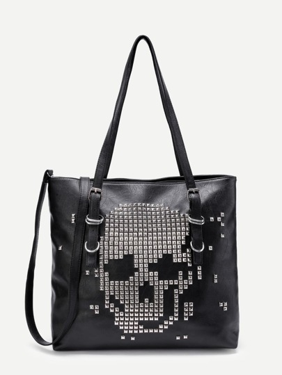 Studded Decorated PU Shoulder Bag With Convertible Strap