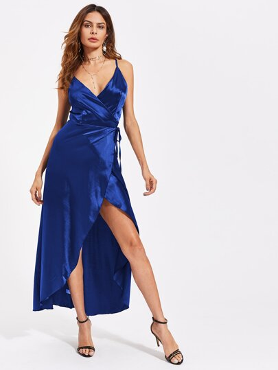 Satin V-neckline Overlap Dress