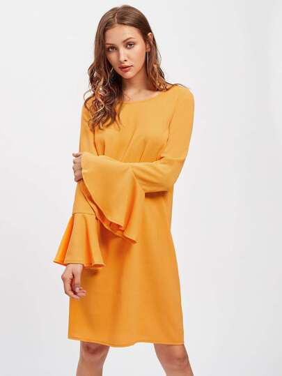 Buttoned Keyhole Bell Sleeve Dress