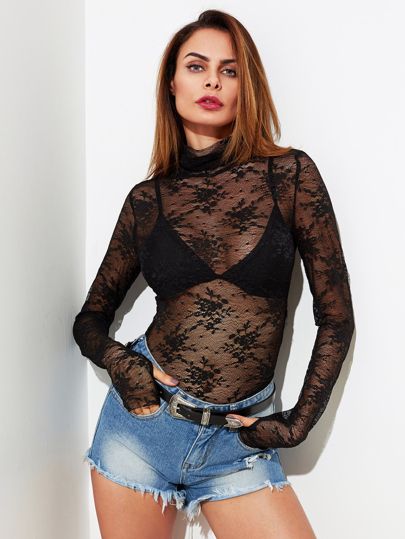 Thumb Hole Detail Slim Fit Lace Top