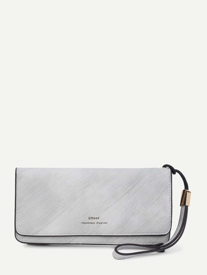 Letter Print PU Wallet With Ring Handle