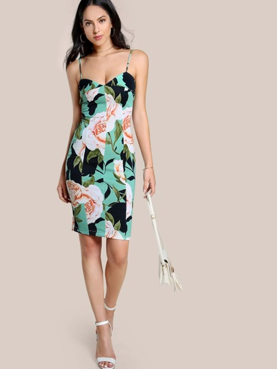 Floral Print Spaghetti Strap Dress MINT