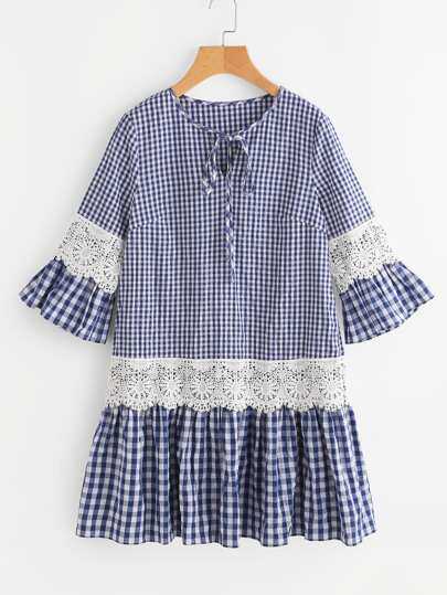 Lace Detail Fluted Sleeve Mixed Gingham Dress