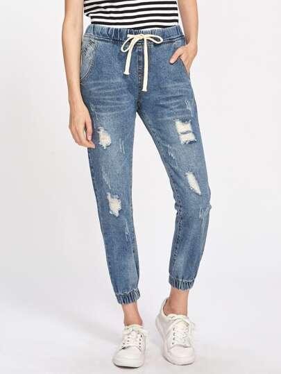 Jeans mit Rissen Detail und elastischem Saum