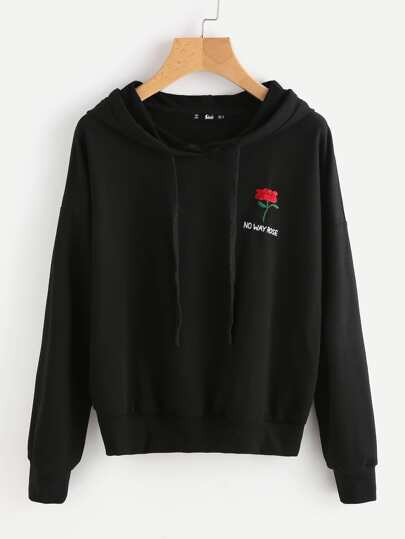 Drop Shoulder Flower Embroidered Hoodie