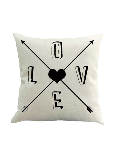 Slogan & Heart Print Pillowcase Cover