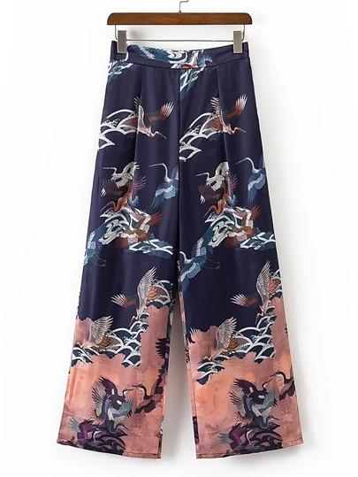 Cranes Print Wide Leg Pants