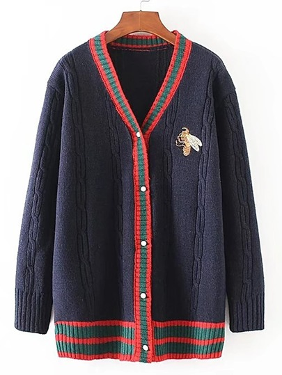 Contrast Binding Bee Embroidery Sweater Coat