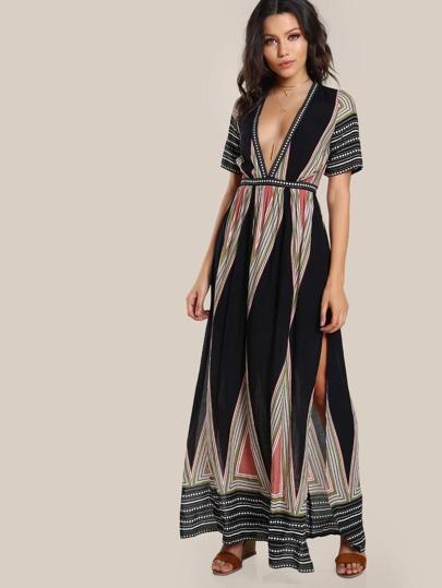 Geo Print Plunge Neck Kimono Dress