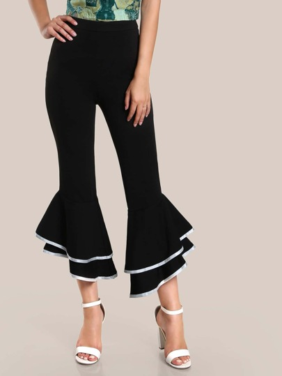 Contrast Binding Layered Ruffle Pants