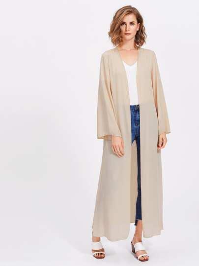 Tie Waist Sheer Longline Abaya