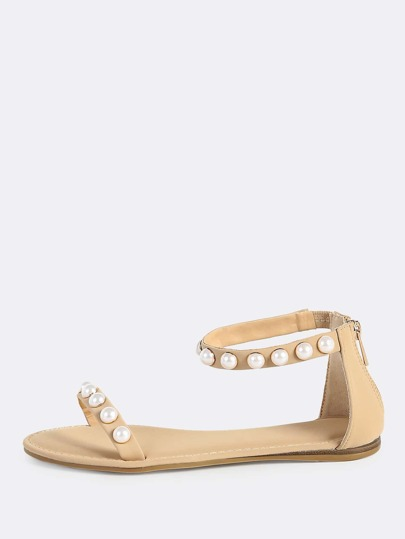 Pearl Studded One Band Ankle Strap Sandals NUDE