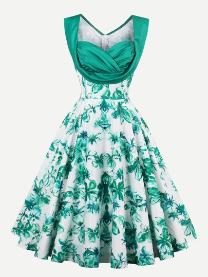 Sweetheart Draped Neck Florals Swing Dress